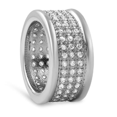 360 Micro Pave CZ Stainless Steel Ring