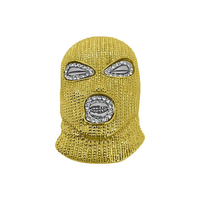 Gold Goon Face Ski Mask Plies Hip Hop Pendant