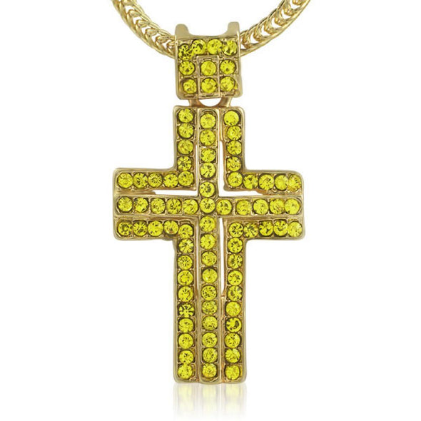 Lemonade Iced Out Cross  Chain Small