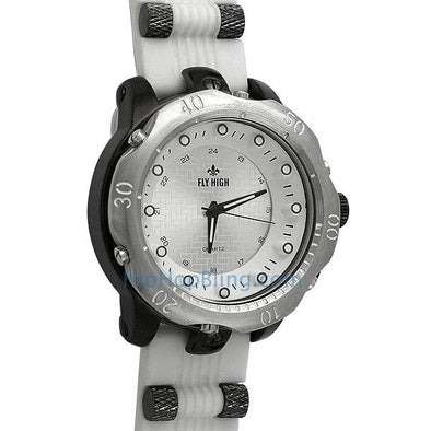 White Rubber Fashion Mens Watch Silver Black