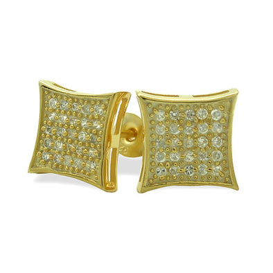 MED Kite Gold Vermeil CZ Micro Pave Earrings .925 Silver