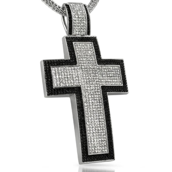 XXL Mega Cross Black Border Rhodium