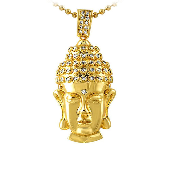 Clean Buddha Head CZ Gold Pendant
