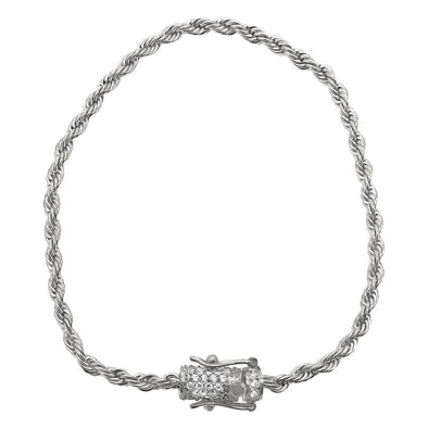 CZ Diamond Lock 3MM Stainless Steel Rope Bracelet