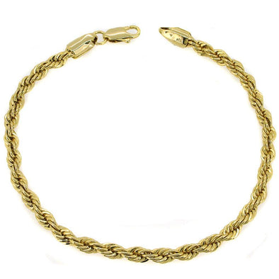 French Rope 4MM Gold Plated Bracelet