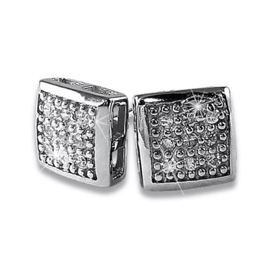 Small Puffed Box CZ Micro Pave Earrings .925 Silver