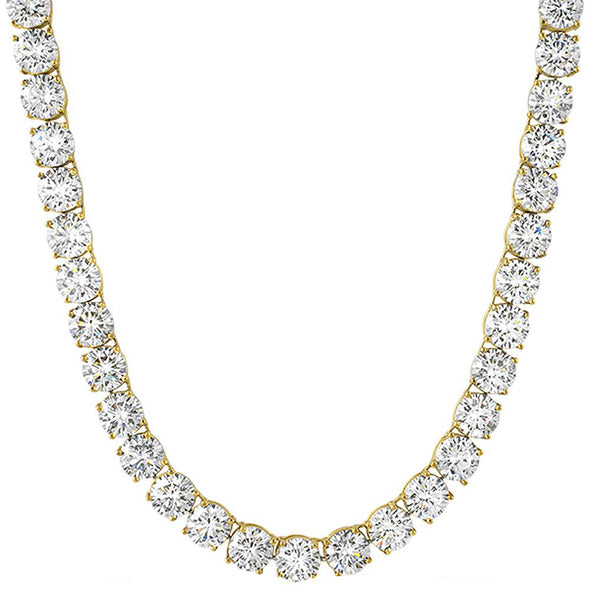 Gold Steel 8MM CZ Bling Bling 1 Row Tennis Chain
