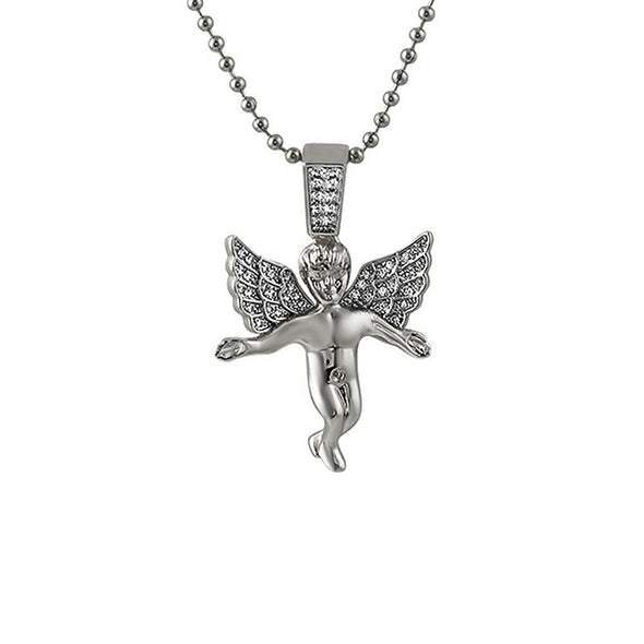 Mini CZ Angel Pendant Rhodium