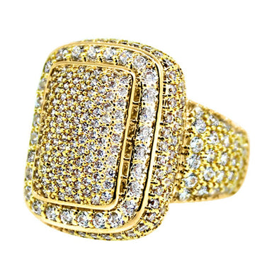 .925 Silver Cocktail Chunky Ice Bling Bling CZ Mens Ring in Gold