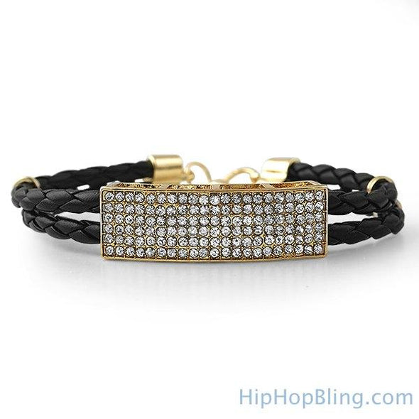 Dual Strand Black Leather Gold ID Bling Bracelet
