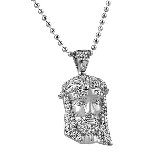 CZ Rhodium Mini Jesus Piece Pendant