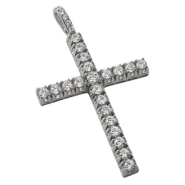3D CZ Tennis Cross Rhodium