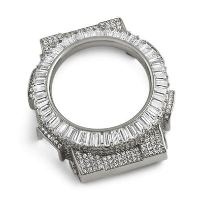 Baguette CZ Rhodium Bezel Case for Casio G Shock GA100
