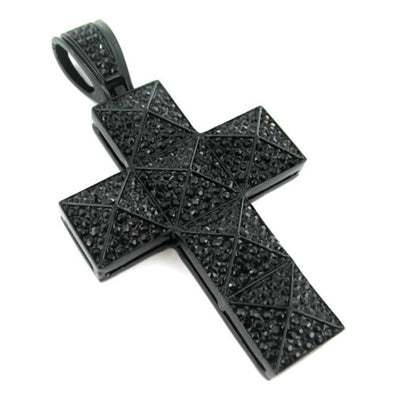 Pyramid Cross Black on Black Iced Out Pendant
