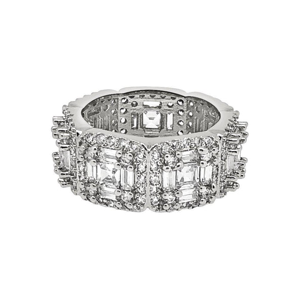 .925 Silver Exotic Baguette Princess Eternity Band CZ Rhodium Ring