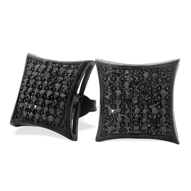 All Black Large Puffed Kite CZ Micro Pave Earrings .925 Silver