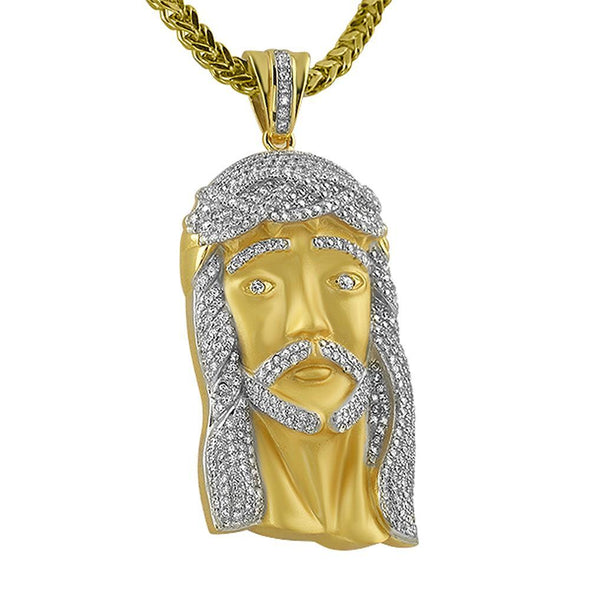 Large Gold Jesus Piece .925 Sterling Silver
