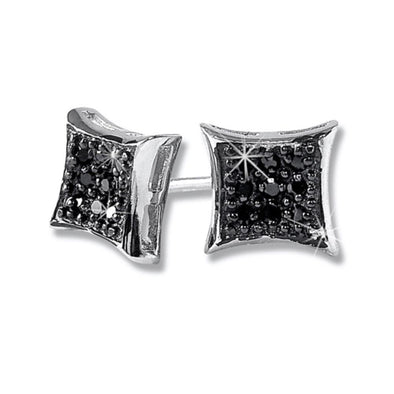Kite Small Black CZ Micro Pave Earrings .925 Silver