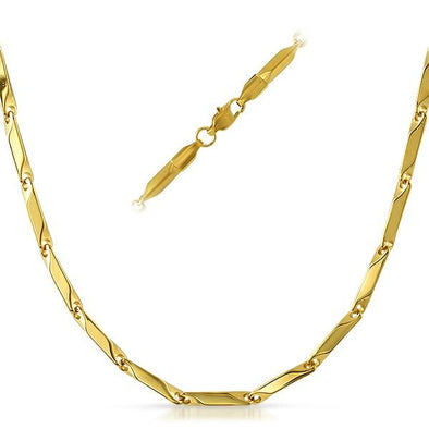 Bullet Stainless IP Gold Steel Chain Necklace 3MM