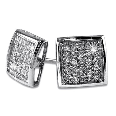 Deep Box Medium CZ Bling Micro Pave Earrings .925 Silver
