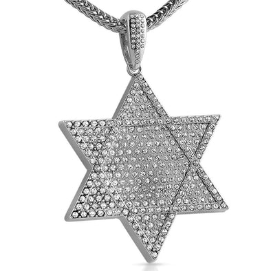 6 Point Star Rhodium Pendant