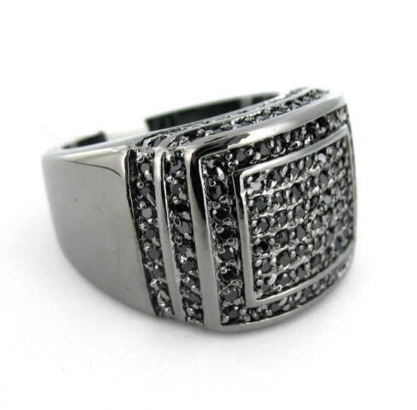 Ballers CZ Black Mens Ring
