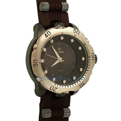 Rubber Fashion Mens Watch Gold/Black Brown Band