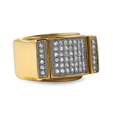 Gold Bling Bling Ring CZ Pave Steel Ring
