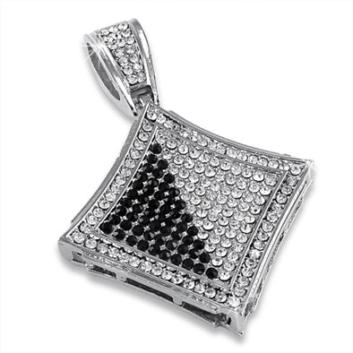 Black  White Diagonal Kite Rhodium Pendant