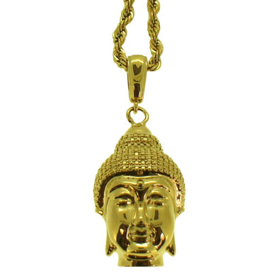 Gold 3D Buddha Head Pendant  Rope Chain