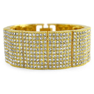 Gold Ice Bump Wide Bracelet
