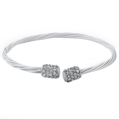 All White Guitar String Style Bracelet Rhodium