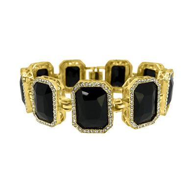 Black Gem Link Gold Bracelet