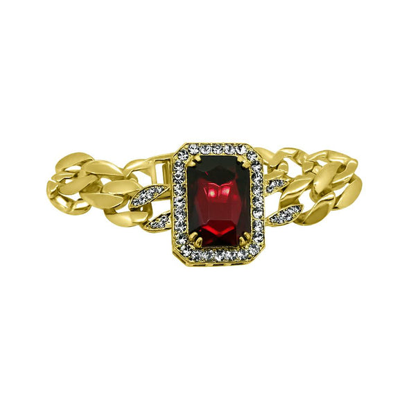 Polished Cuban Link Red Gem Bracelet