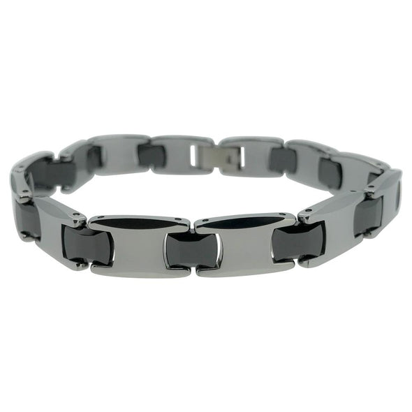 Tungsten Alternating Black Link Bracelet