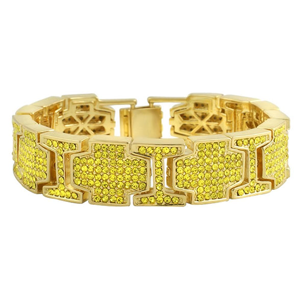 Thick Cross Link Lemonade Bracelet