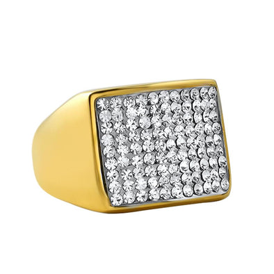 Gold Players Bling Ring Stainless Steel