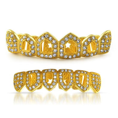 Gold Grillz 4 Open Tooth Bling CZ Set