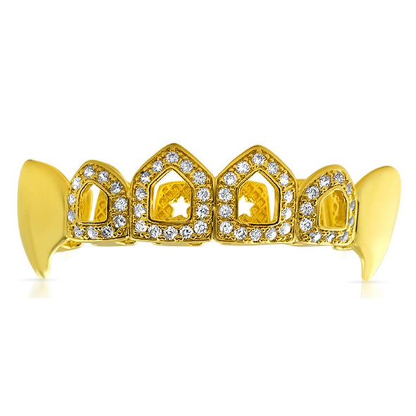 Fang Open Tooth Gold Bling CZ Grillz Top