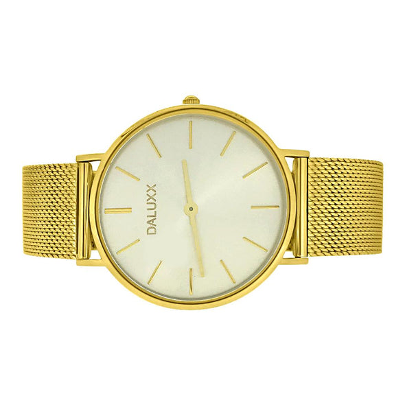 Slim Case Watch Gold Mesh Band Silver Dial