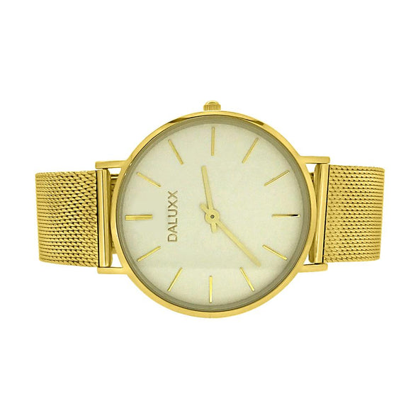 Slim Case Watch Gold Mesh Band White Dial
