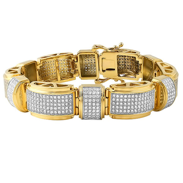 Gold Stainless Steel Domed Bar CZ Bracelet