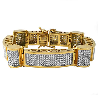 Gold Ice Cylinders CZ Stainless Steel Bracelet