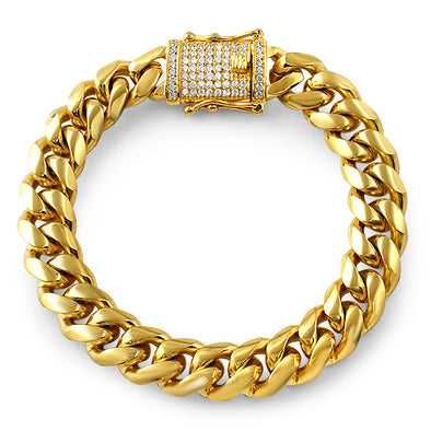 CZ Diamond Lock Gold Steel Cuban Bracelet 12MM