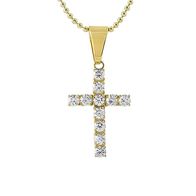 4MM CZ Cross Gold Stainless Steel