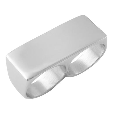 2 Finger Bar Ring Stainless Steel