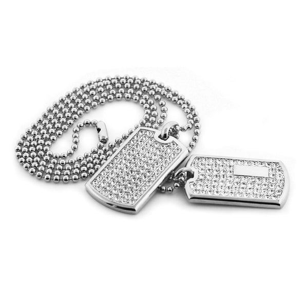 Double Dog Tag Set Rhodium
