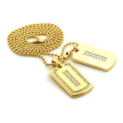 Ice Outline Gold Double Dogtag Set