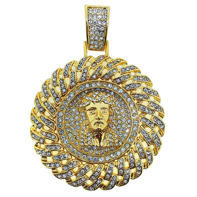 Gold Jesus Cuban Medallion