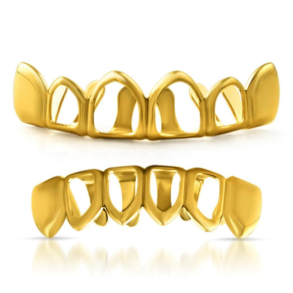 Grillz Set with 4 Open Gold Teeth